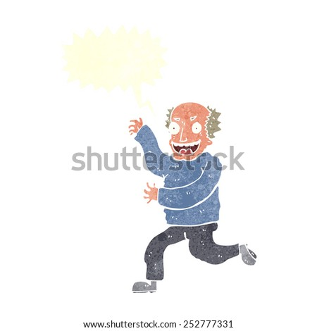 cartoon evil old man with speech bubble - stock photo