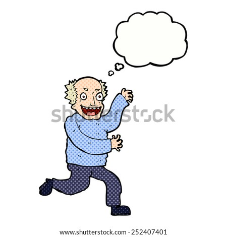 cartoon evil old man with thought bubble - stock photo