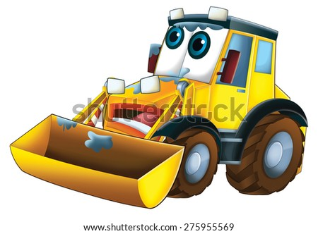 Cartoon excavator - illustration for the children - stock photo
