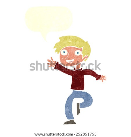 cartoon excited boy dancing with speech bubble - stock photo