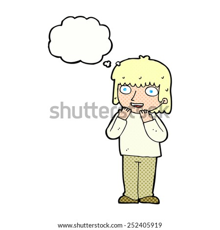 cartoon excited person with thought bubble - stock photo