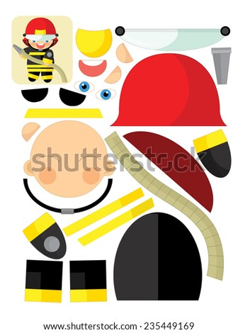Cartoon exercise with scissors for childlren - fireman - illustration for the children - stock photo