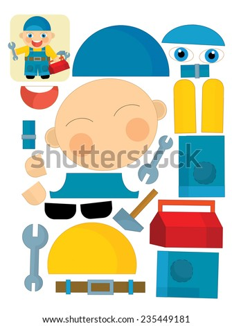 Cartoon exercise with scissors for childlren - mechanic - illustration for the children - stock photo