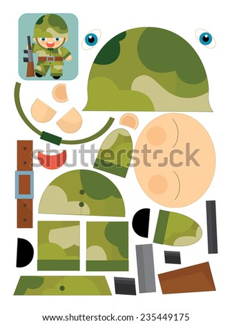Cartoon exercise with scissors for childlren - soldier - illustration for the children - stock photo