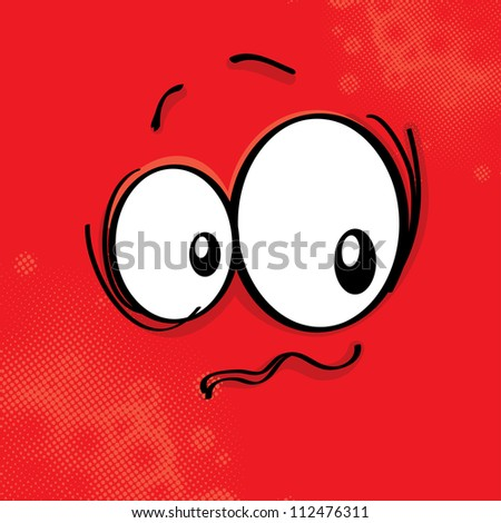 Cartoon expression on colored background, raster illustration - stock photo