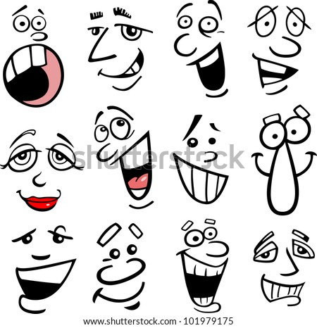 Cartoon faces and emotions for humor or comics design - stock photo