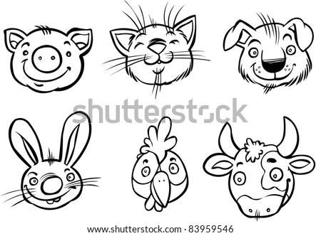 Cartoon faces of domestic animals outline drawing