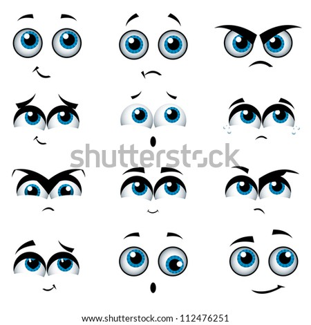 Cartoon faces with various expressions, raster illustration set