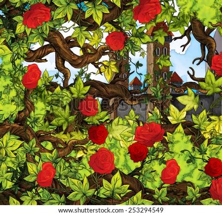 Cartoon fairy tale scene - enchanting garden - illustration for the children - stock photo
