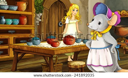 Cartoon fairy tale scene - illustration for the children - stock photo