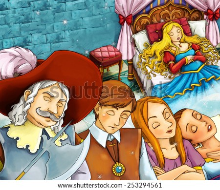 Cartoon fairy tale scene - sleeping people - public - illustration for the children - stock photo