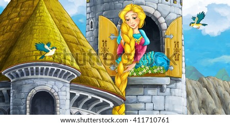 Cartoon fairy tale scene with castle tower - princess in the window - illustration for children - stock photo