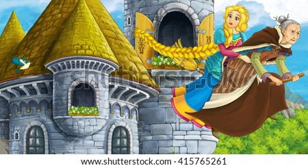 Cartoon fairy tale scene with princess flying on the broomstick with the witch  - illustration for children - stock photo