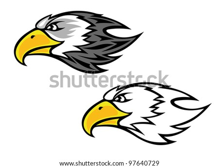 Cartoon falcon or hawk head for mascot or tattoo design, such  a logo. Vector version also available in gallery - stock photo