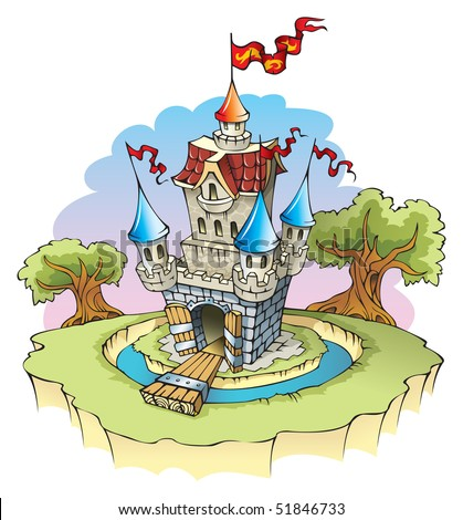 Cartoon fantasy castle, surrounded by water moat, raster from vector illustration - stock photo