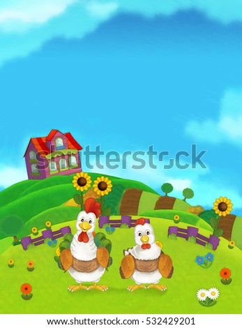 Cartoon farm happy scene with standing rooster and hen - illustration for children