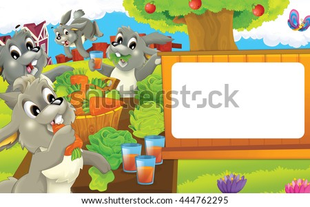 Cartoon farm scene - happy dog is looking - space for text - illustration for children