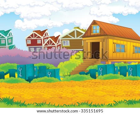 Cartoon farm scene - illustration for the children