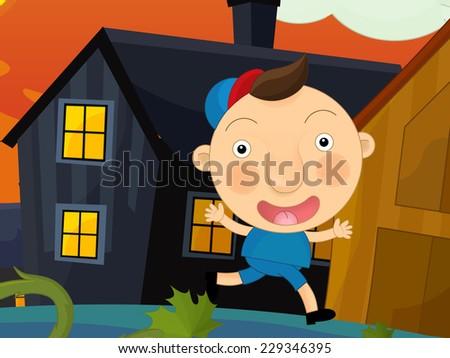 Cartoon farm scene - kid running on the farm -  illustration for children - stock photo