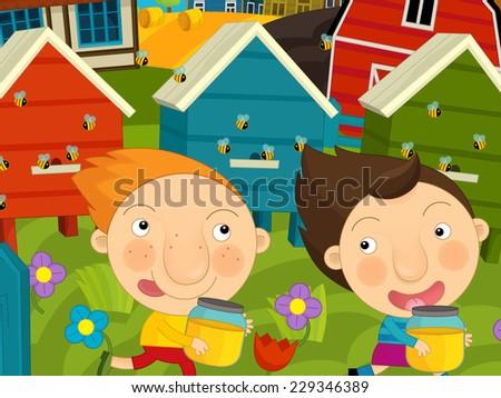 Cartoon farm scene - kids playing near the hives - illustration for the children - stock photo
