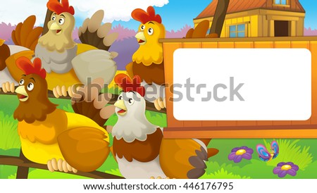 Cartoon farm scene with cute animal - hens - illustration for children