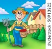 Cartoon farmer on garden - color illustration. - stock photo