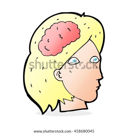 cartoon female head with brain symbol - stock photo
