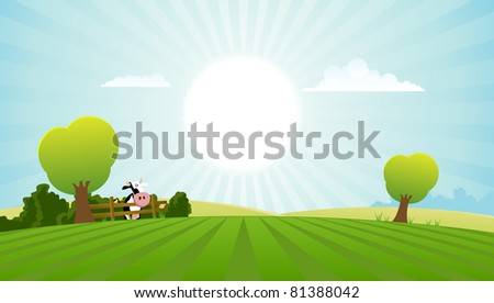 Cartoon Field With Dairy Cow/ Illustration of a cartoon dairy cow inside spring or summer landscape - stock photo