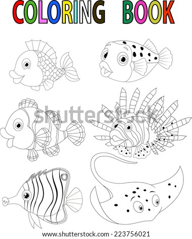 Coloring page butterfly colorful sample printable stock for Colorful fish book