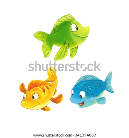 Cartoon fishes - isolated - illustration for the children - stock photo