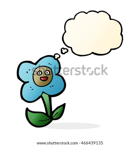 cartoon flower with face with thought bubble
