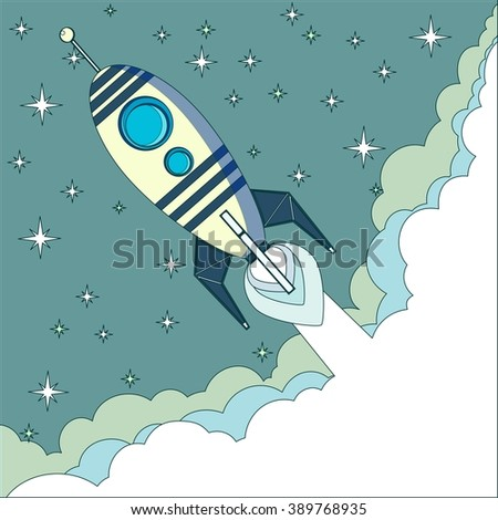 Cartoon Flying Rocket with Illyuminotor and Flames from the Engine with space for text in the clouds. Stock illustration. - stock photo