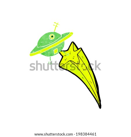 cartoon flying saucer - stock photo
