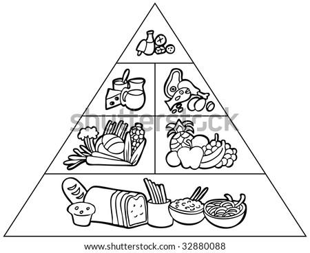 cartoon food pyramid line art stock illustration 32880088