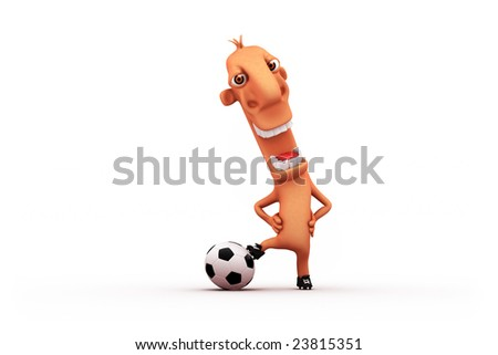 cartoon football player. Objects over white. - stock photo