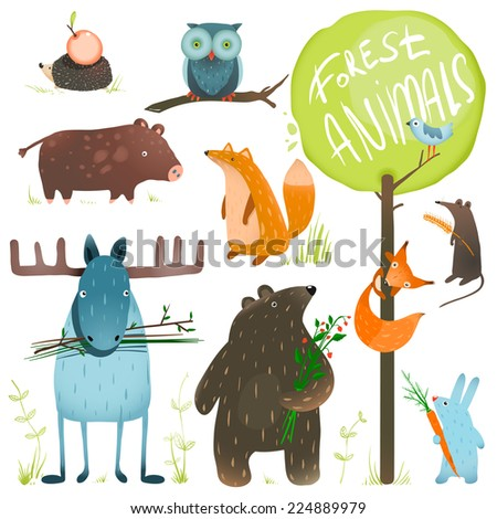 Cartoon Forest Animals Set. Brightly colored childish animals. Raster variant. - stock photo