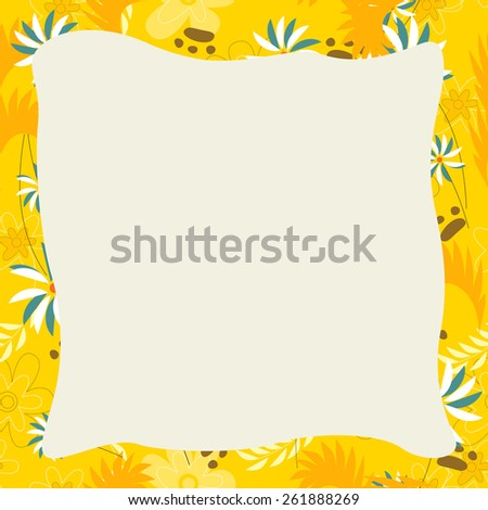 Cartoon frame - natural theme in background - illustration for the children - stock photo