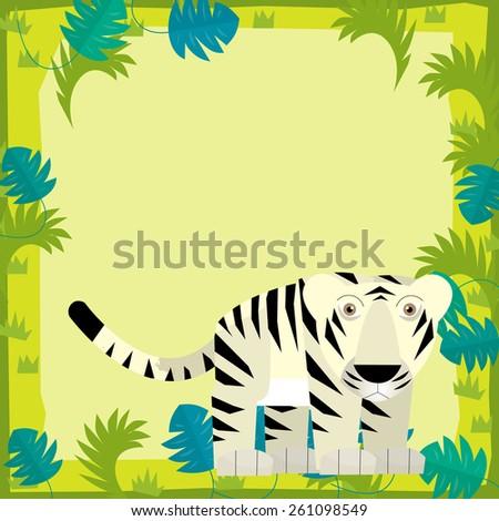 Cartoon frame scene - white tiger - illustration for the children - stock photo
