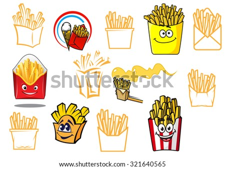 Cartoon french fries takeaway food designs set, for fast food, cafe, restaurant or logo design - stock photo