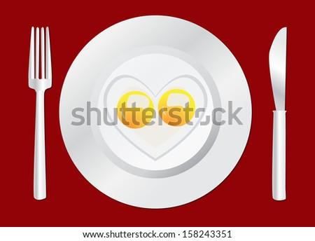 Cartoon Fried eggs Happy Breakfast, Cutlery  Plate, Eggs,  Fork  - stock photo