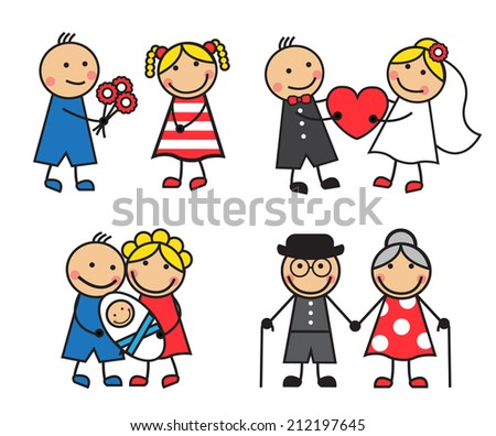 Cartoon friendly and happy family on a date for the wedding, after the child's birth and age - stock photo