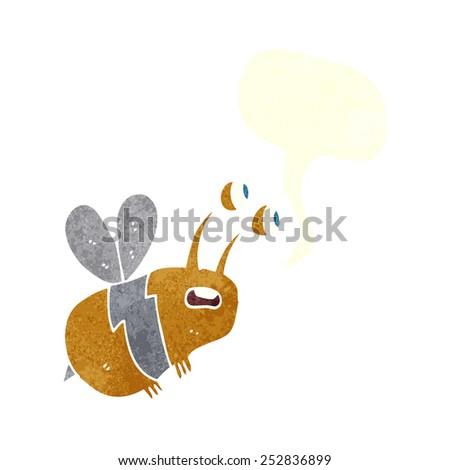 cartoon frightened bee with speech bubble - stock photo