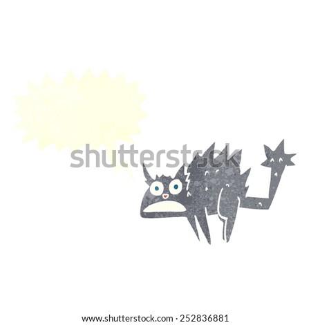 cartoon frightened black cat with speech bubble - stock photo
