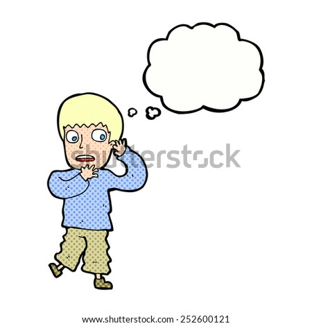 cartoon frightened boy with thought bubble - stock photo