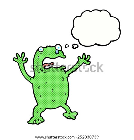 cartoon frightened frog with thought bubble - stock photo