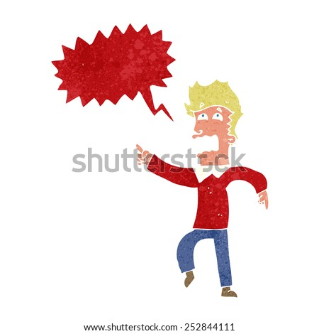 cartoon frightened man pointing with speech bubble - stock photo