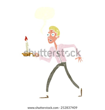 cartoon frightened man walking with candlestick with speech bubble - stock photo