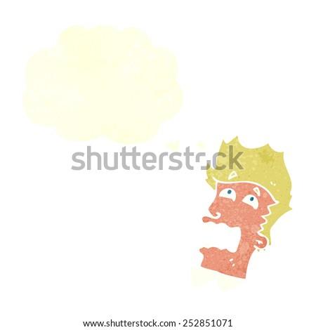 cartoon frightened man with speech bubble - stock photo
