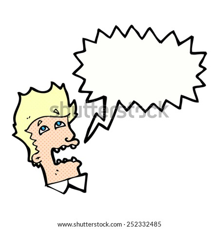 cartoon frightened man with thought bubble - stock photo