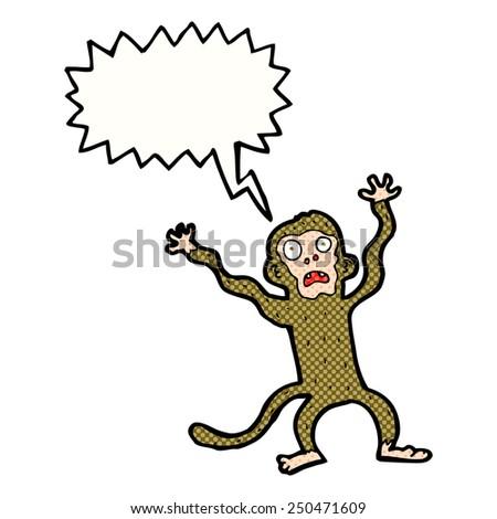 cartoon frightened monkey with speech bubble - stock photo